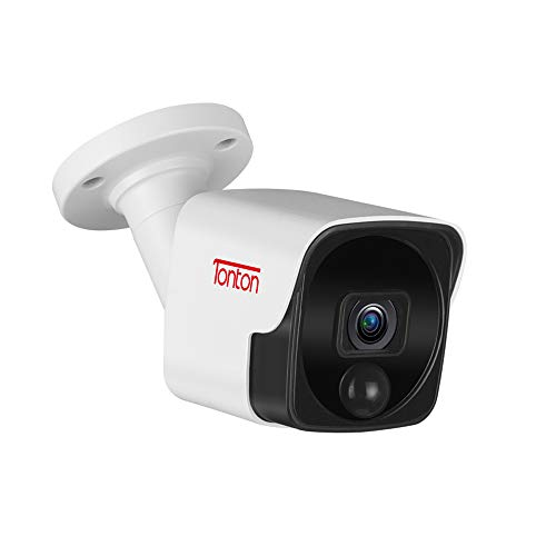 Tonton 5MP PoE IP Bullet Camera Outdoor,150Ft Long IR Night Vision,Audio...