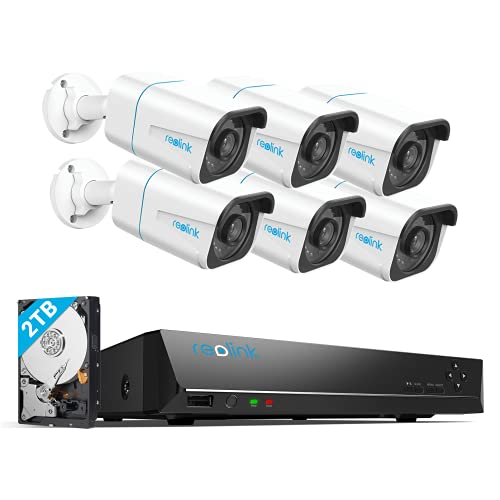 REOLINK H.265 4K PoE Security Camera System, 6pcs 8MP Wired PoE IP Cameras...