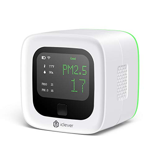 iClever Air Quality Monitor, Wireless Chargeable Air Quality Tester for...