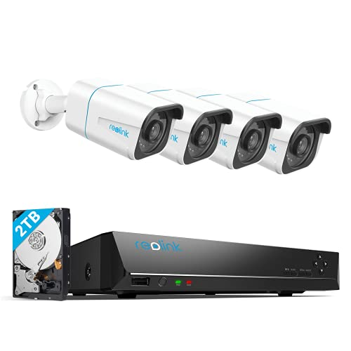 REOLINK H.265 4K PoE Security Camera System, 4pcs Smart 8MP Wired PoE IP...