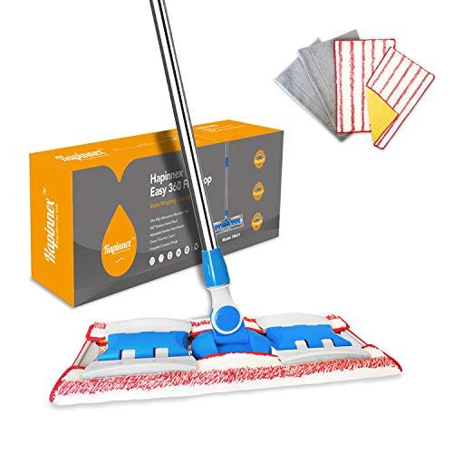 HAPINNEX Hardwood Dust Floor Mop - 4 Washable & Reusable Microfiber Mop...