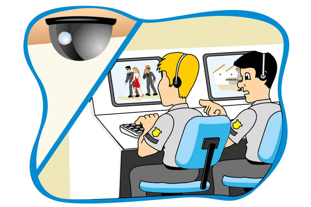 Professional security watching through camera monitoring system, ideal for training material and institutional