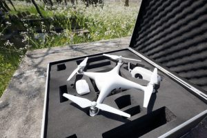 Drone before the flight with metal bag