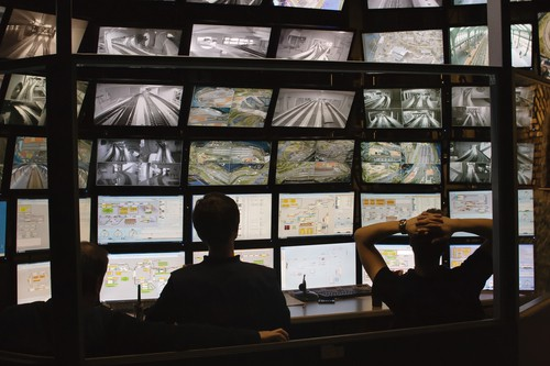 security guards watching video monitoring surveillance security