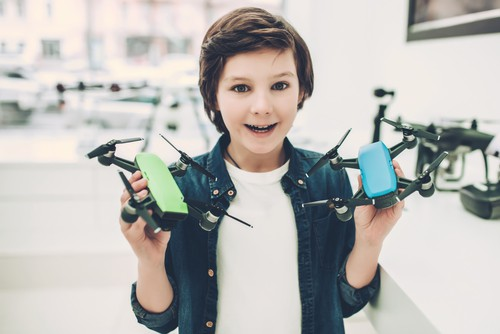 Boy in quadcopter store