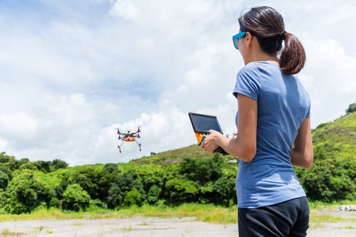 Woman playing with drone
