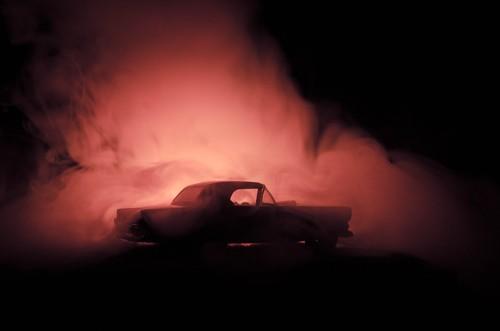 car getting burned