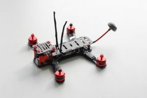 Racing quadcopter isolated on the white background