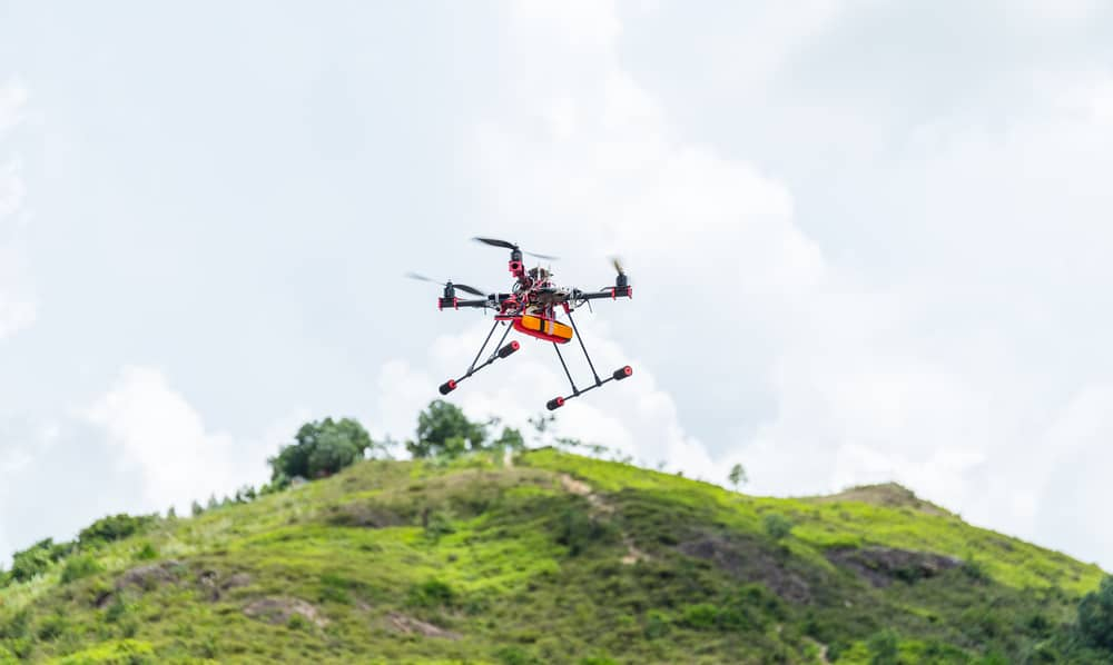 Drone flying at outdoor