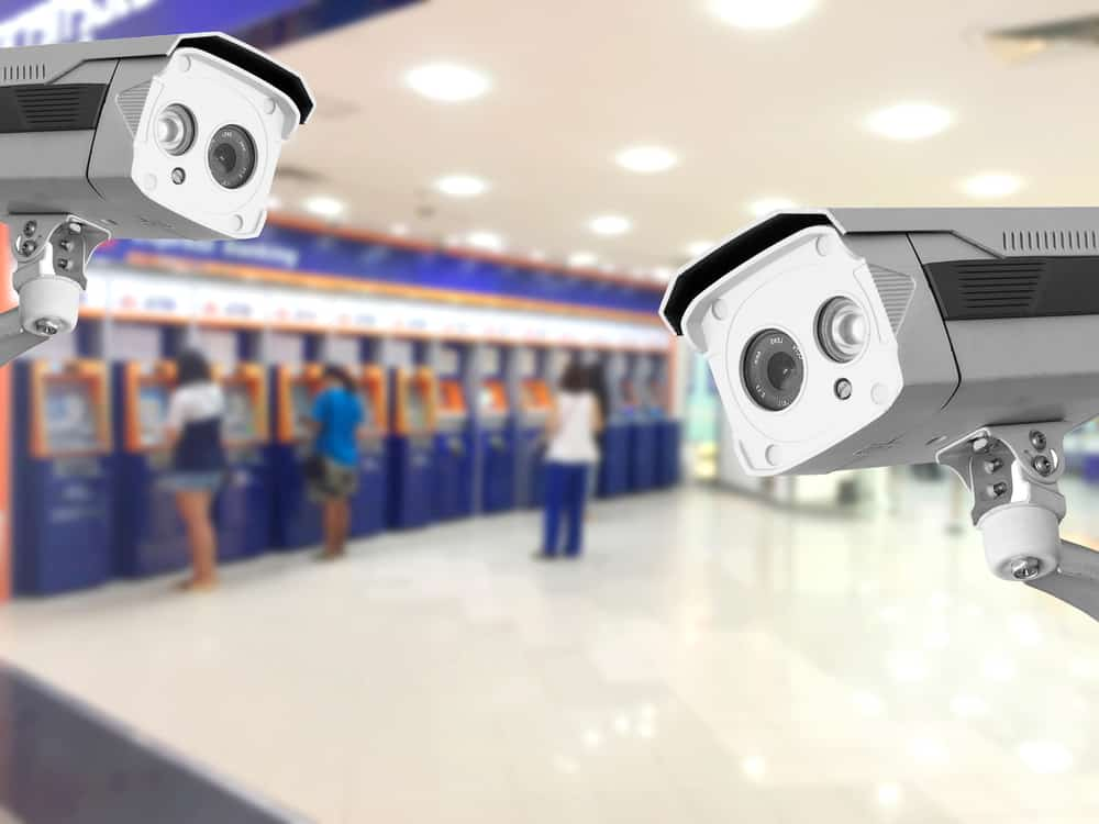 CCTV Security camera Auto teller machine(ATM) area background.