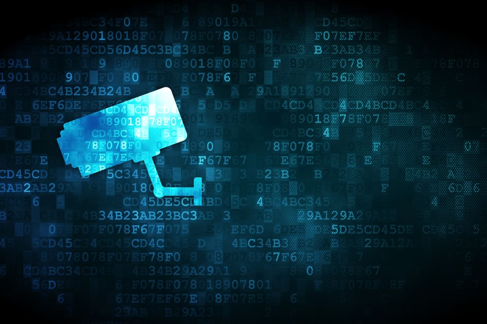 Security concept pixelated Cctv Camera icon on digital background, empty copyspace for card, text, advertising, 3d render