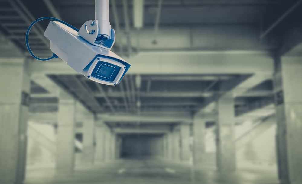 Video camera security system at car parking