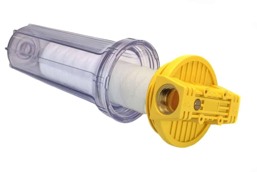 Sediment Water Filter Cartridge In Transparent Plastic Container